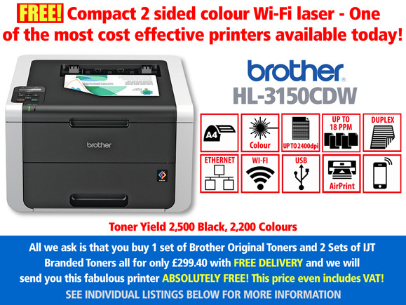 Free Brother HL-3150CDW Printer Deal: With 3 Sets of toner