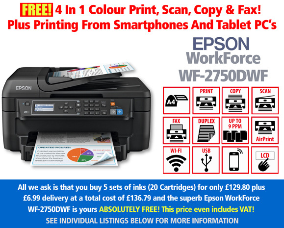Free Epson WorkForce WF-2750DWF Printer Deal & 5 Sets of Inks