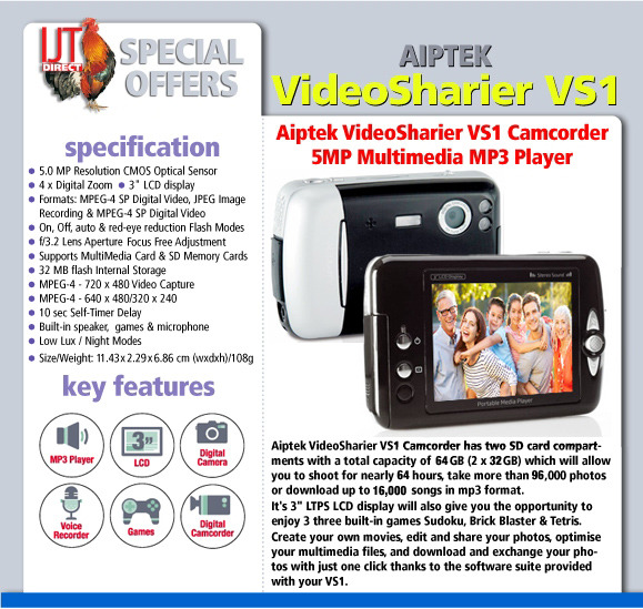 Aiptek VideoSharier VS1 Camcorder 5MP Multimedia MP3 Player