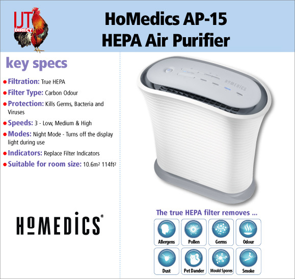 The HoMedics AP-15 True HEPA filter provides protection against germs, bacteria & viruses for only £59.95