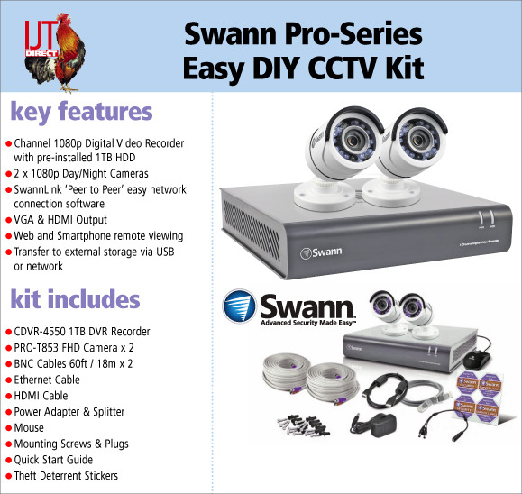 Swann Pro-Series Easy DIY 4 Channcel 1TB Recorder & 2 FHD Day/Night Cameras Set for £129.95