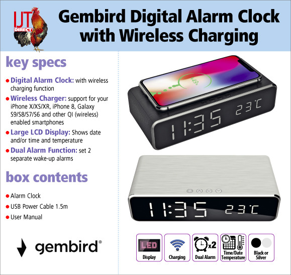Gembird Digital Alarm Clock with Wireless Charging for your Samsung, Apple, Microsoft or other QI enabled smartphone for only £17.95