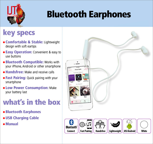 Wireless Bluetooth In-Ear Earphones for your iPhone or iPod or Android device for only £5.95