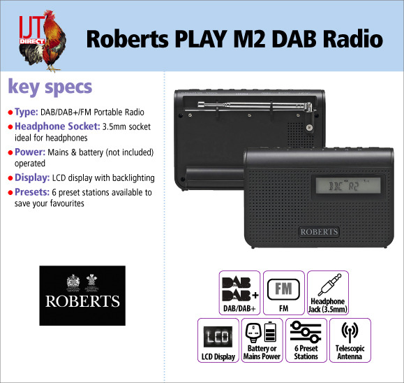 Roberts PLAY M2 DAB+ and FM Portable Travel Radio in Black for only £24.95