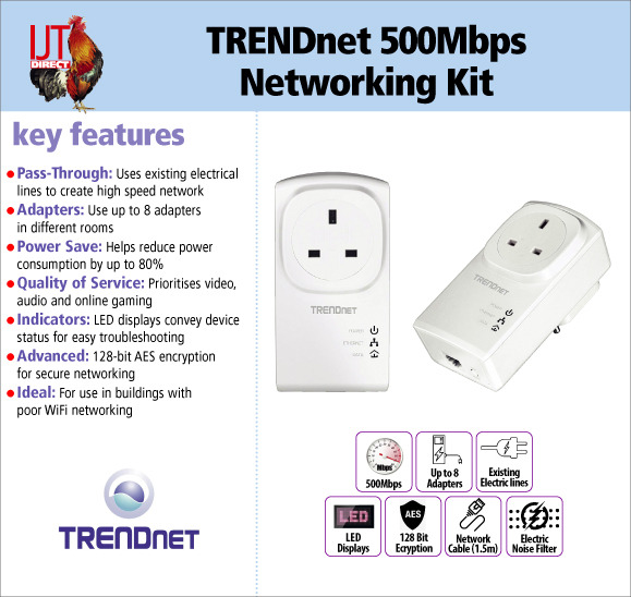 TRENDnet 500Mbps Pass-Through LAN home or office networking kit including 2 adapters for £28.95