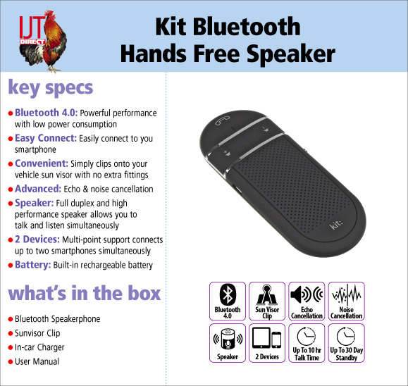 Kit Bluetooth Hands Free Wireless Bluetooth In Car Speakerphone with Sun Visor Clip for £19.95
