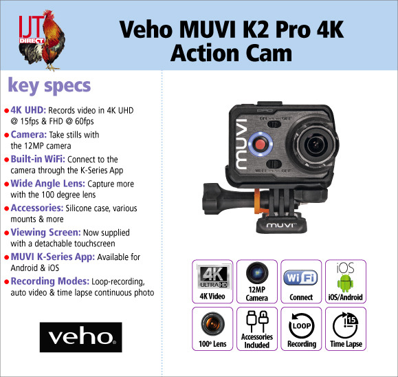Veho MUVI K2 Pro 4K Ultra High Definition 2160p WiFi enabled Action Sports Camera with Accessories for £79.95