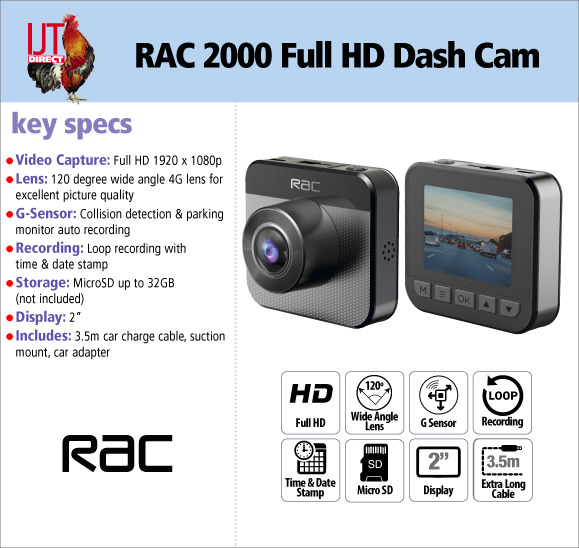 RAC 2000 Full HD 1080p In Car Dash Cam Camera with 120-degree wide angle lens and 2\
