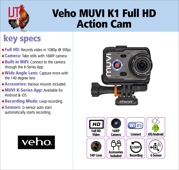 Veho MUVI K1 Full HD 1080p WiFi enabled Action Sports Camera with Accessories for £34.95