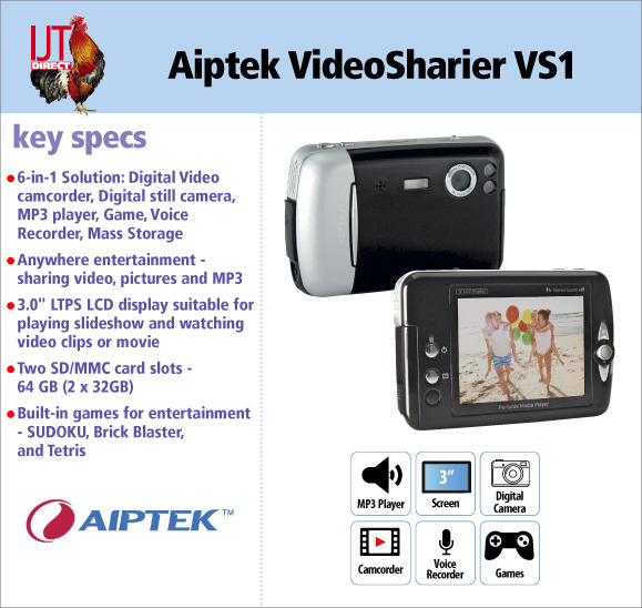 Aiptek VideoSharier VS1 6 in 1 Camcorder 5MP Camera and Multimedia MP3 Player for only £19.95