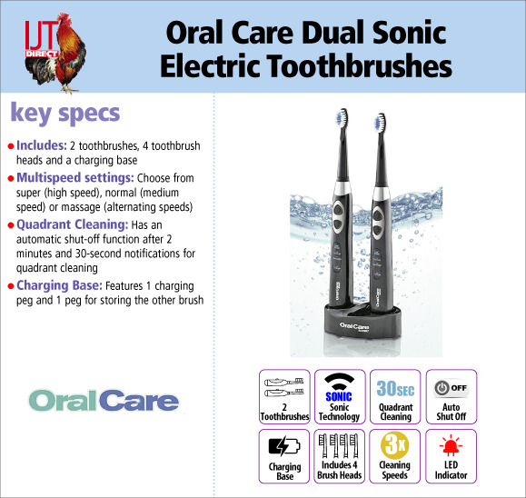 Oral Care Dual Sonic Electric Rechargeable Toothbrushes with charging base and 4 brush heads for £34.95