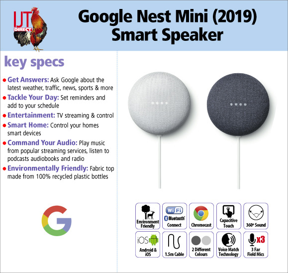 Google Nest Mini (2019) 2nd Gen Smart Assistant Speaker brand new in chalk or charcoal for £39.95