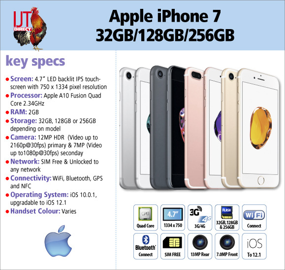Our stock of Apple iPhone 7\'s are avaliable in a choice of colours and storage capacities from £279.95