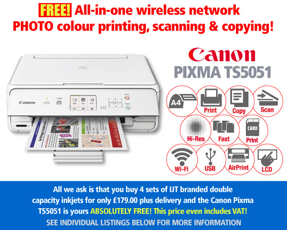 Free Canon Pixma TS5051 Printer Deal: 4 Sets of Ink