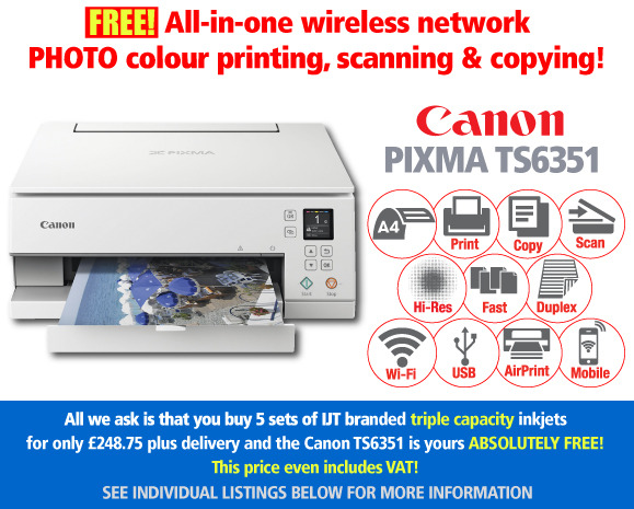 Free Canon Pixma TS6351 Printer Deal: 5 Sets of Inkjet Cartridges